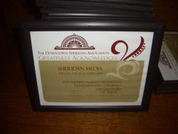Sheridan Media was recognized by the DSA for their work with the Farmers Market .