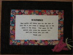 This quilt was stolen last Wednesday from the Fiber Arts Show at the Sheridan Fulmer Library.